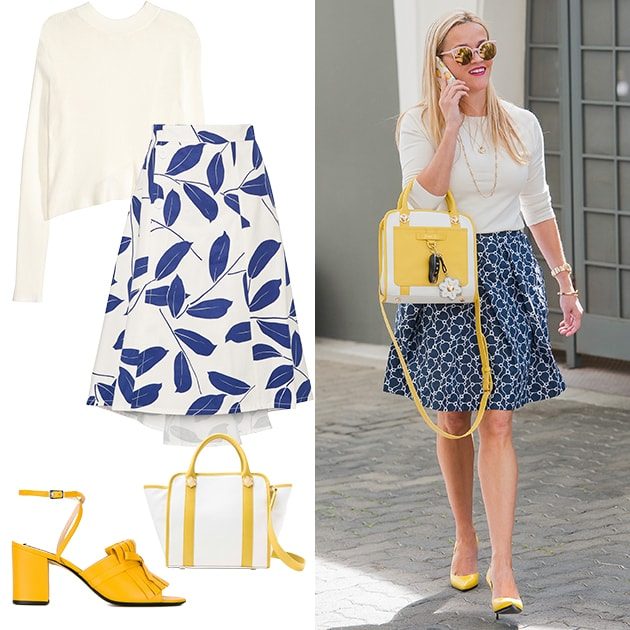 reese witherspoon bridal shower inspiration white sweater blue skirt