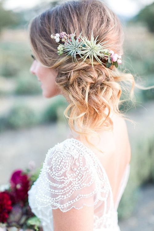 Pretty Bridal Hairstyles Featuring Succulents and Air Plants